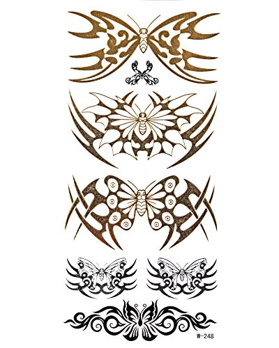 Gold Metallic Flash Tattoos modesieraad sexy tattoo vlinders tribals W-248 - LK Trend & Style