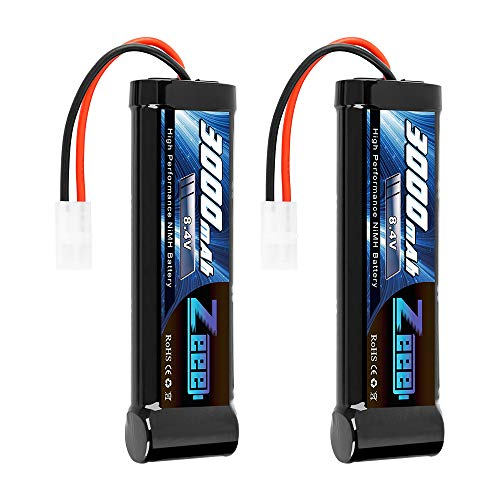 Zeee 8.4V 3000mAh RC Battery High Power NiMH Battery with Tamiya Plug for RC Car LOSI Associated HPI Tamiya Kyosho(2 Pack)