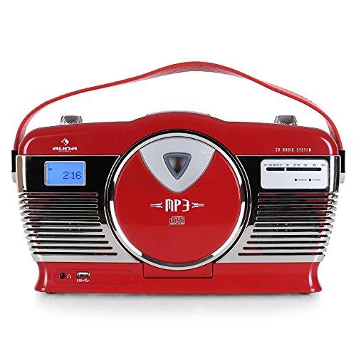 professionnel comparateur AUNA RCD-70 – Radio FM, design rétro, port USB compatible MP3, chargement lecteur CD / MP3… choix