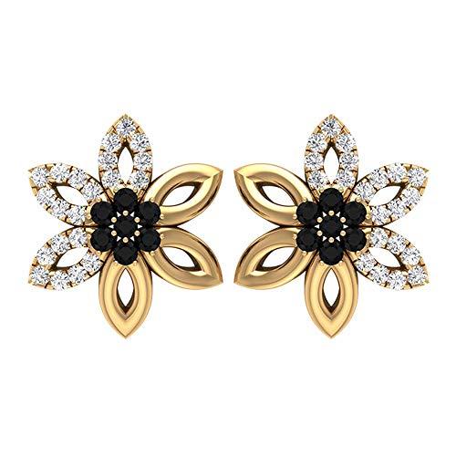 Pendiente de espinela negra de 0,25 quilates, pendientes de tuerca de diamante HI-SI, oro macizo floral, para mujer, 18K Oro amarillo, Par