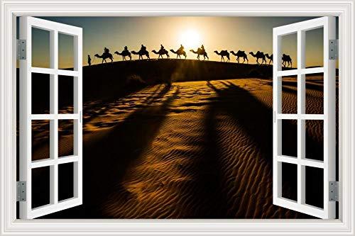 Adesivos De Parede Desert Natural Landscape Camel 3D Efeito De Adesivo De Parede Janela Falsa Para Casa Sala De Estar Decoração De Quarto Adesivo 60 * 90Cm(24 * 36Inch)