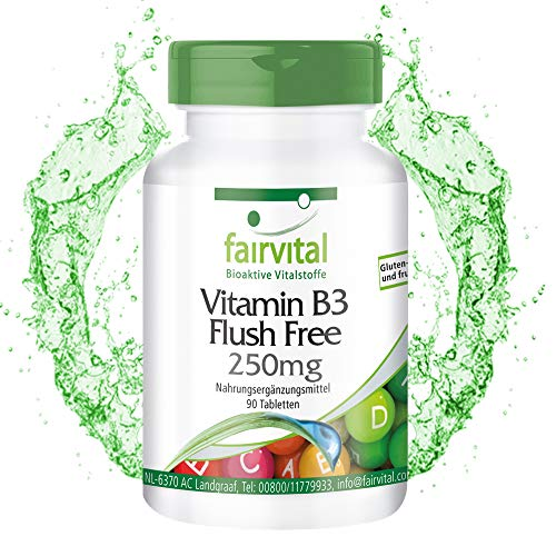 Vitamine B3 tabletten flush free 250mg - HOOG GEDOSEERD - VEGAN - 90 tabletten