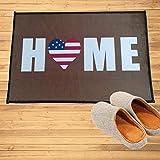 N/A Felpudo de Entrada Impreso en 3D Hogar América Bandera Corazón Felpudo Entrada Bienvenido Estera Pasillo Puerta Baño Dormitorio Cocina Alfombras Alfombras de Piso Alfombra Regalo-16x24 Inch