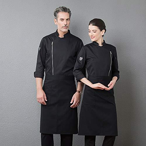Unisex Männer Frauen Professionelle Langarm Koch Uniform Reißverschluss Design Küche Restaurant Arbeitskleidung Kochjacke für Bäckerei,Black,L
