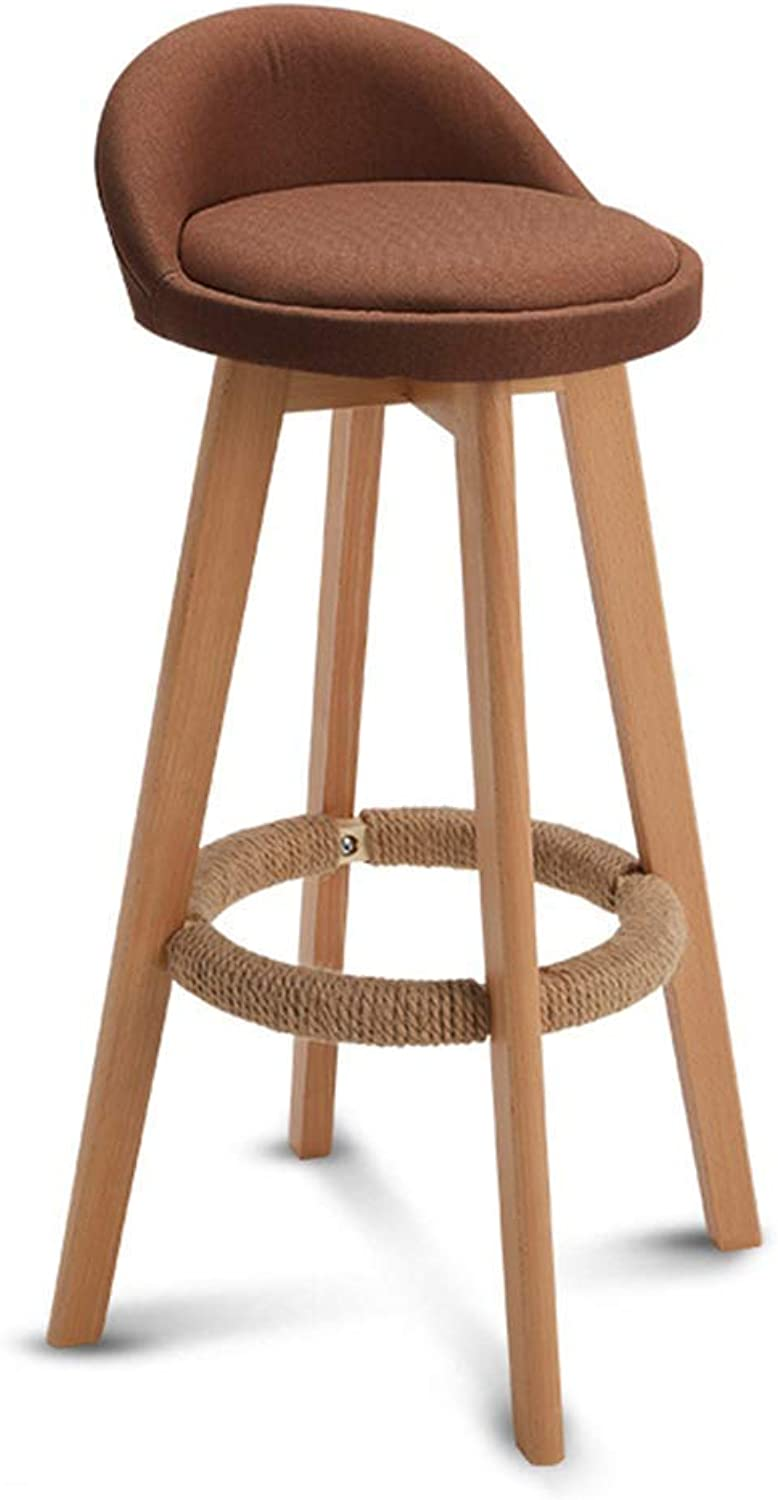 LF Bar stool Barstools Chair Footrest Linen Cushion Swivel Seat Backrest Dining Chairs for Kitchen   Pub   Coffee Bar Stool Wood Legs Max Load 150 Kg (color   B, Size   63cm)