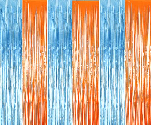 3 Pack Foil Metallic Fringe for Blippi Birthday Decorations Curtains Blue Orange Curtain Party Backdrop
