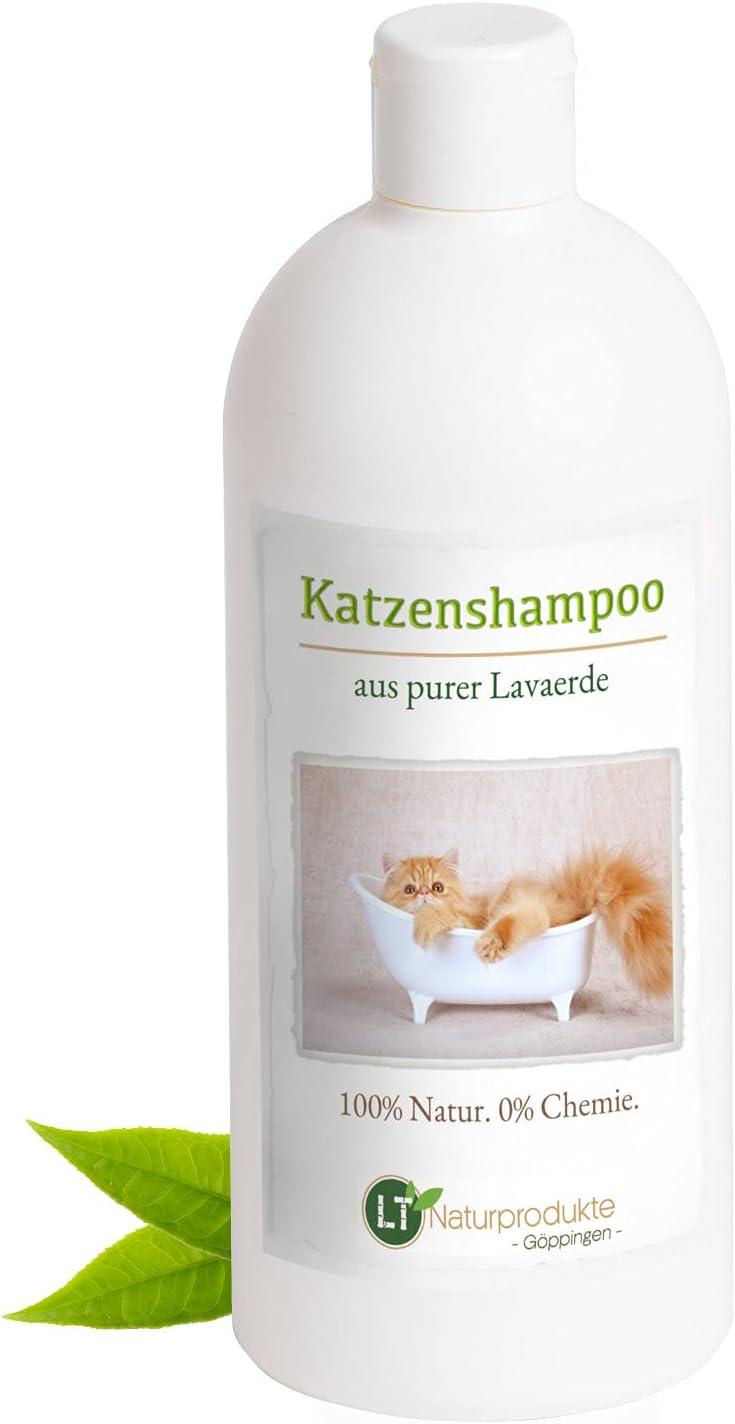 Champú para gatos | Orgánico | Libre de químicos y jabones | Hipoalergénico | Contra el picor | Con polvo de arcilla original marroquí | 500ml | Para pelos cortos y largos | Deja el pelo brillante