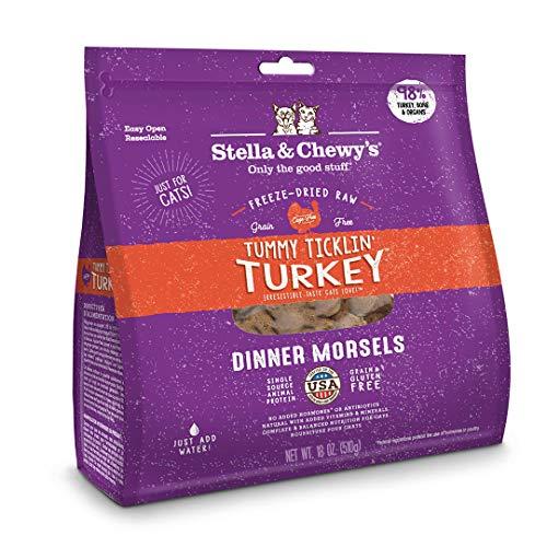 Stella & Chewys Freeze-Dried Raw Tummy Ticklin Turkey Dinner Morsels Cat Food, 18 oz. Bag