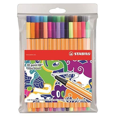 Stabilo Point 88 Filzstifte, feine Spitze, 30 Stück, verschiedene Farben, limitierte Edition