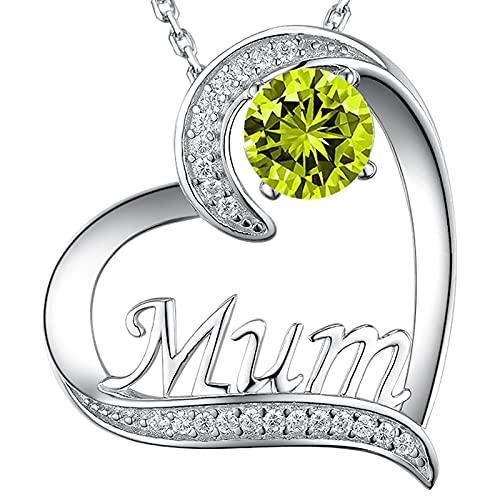 GinoMay Joyas de Peridoto Collar de Mamá Regalo de Cumpleaños para Mamá Esposa Amor Corazón Colgante Collar Piedra Natal de Agosto Plata de Ley 925