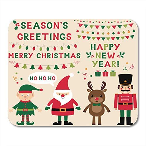 Weihnachtsfiguren Santa Elf Rentier Nussknacker und Schriftzug Text Mauspad