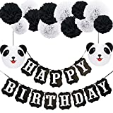 Panda Birthday Decorations,Happy Birthday Decorations,Black and White Happy Birthday Banner, Panda Paper Lanterns,Pom Poms for Birthday Decorations, Birthday Party, Baby Shower Party Supplies(DIY)
