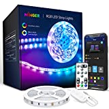 MINGER LED Strip Lights Bluetooth, 16.4ft Music Sync LED Lights with App Phone, Remote, Control Box, RGB Color Changing Lights with 64 Scenes Modes, DIY for Room, Bedroom, Kitchen, TV, Office, Party