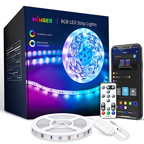Product Image of the MINGER LED Strip Lights 32.8ft, Bluetooth Music Sync RGB Lights with App Phone...