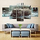 N / A Pintura de la Lona Arte de la Pared Elefante bebé Agua pulverizada inyección de Tinta Tinta Impermeable decoración del hogar