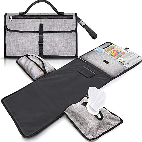 Gimars XL 6 Pockets Holding Anything Portable Baby Diaper Changing Pad, Detachable Waterproof Baby Travel Changing Mat Station with Head Cushion for Diapers Wipes Creams - Perfect Baby Shower Gift