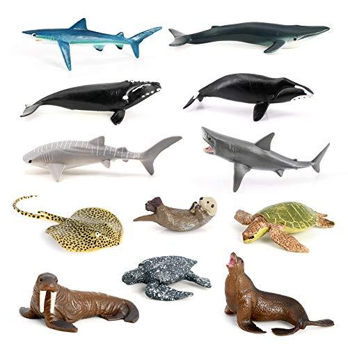 Volnau Mini Sea Creature Toys 12PCS Marine Miniature Animal Figurines for Toddlers Kids Birthday Plastic Fish Toys Figures Preschool Pack and Bath Sets Sea Lion Great White Shark