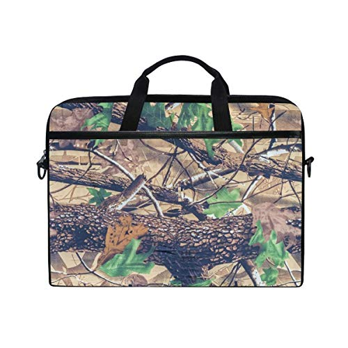 Military Camouflage Forest Laptop Case Bag Sleeve Portable Crossbody Messenger Briefcase 14 Inch