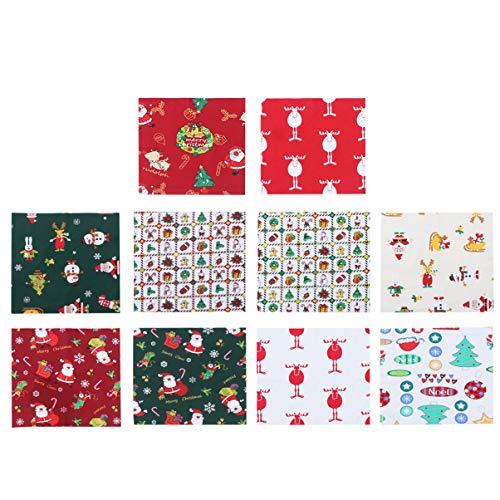 EXCEART 6PCS Natal Tecido De Algodão Impresso Colcha de Retalhos de Pano de Natal Folha de Retalhos de Tecido para DIY Tomada de Costura (Aleatório)