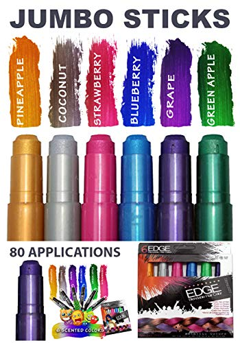 Kids Hair Chalk - JUMBO HAIR CHALK PENS - Washable Hair Color Safe For Kids And Teen - 200% MORE COLOR PER PEN - SCENTED -For Party, Girls Gift, Kids Toy, Birthday Gift For Girls, 6 Bright Colors