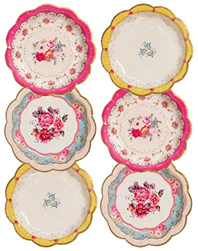 Talking Tables TS3-PLATE Pack of 12 Size 7' Premium Afternoon Tea Party Vintage Floral Paper Plates Ideal For Birthday Baby Shower, Wedding, 12 packs, Multicolored