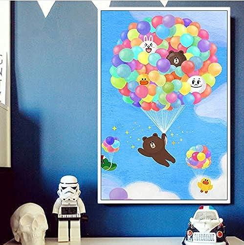 CZYYOU DIY Digitales  em e Durch Zahlen, Die Handgemaltes Bild Bunten Ballon Braunb n Koreanische Karikatur Kenny Kaninchenb Zeichnen, Mit Rahmen, 50x6cm