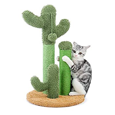 PAWZ Road Cat Scratching Post Cactus Cat Scratcher Featuring with 3 Scratching Poles and Interactive Dangling Ball -Medium 23 Inches