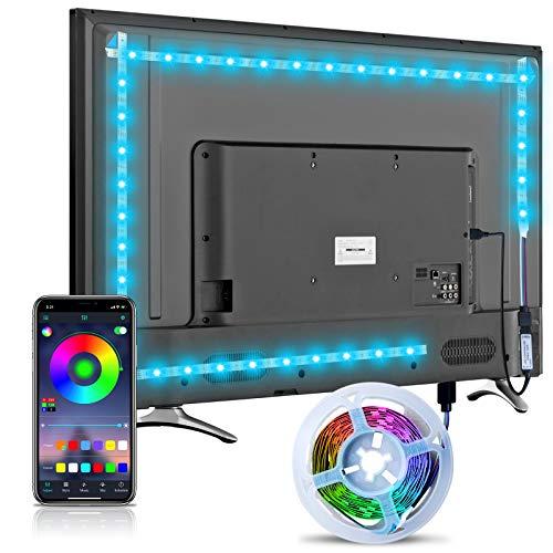Striscia LED retroilluminata TV, striscia LED Hoobabuy 3m 9,8 piedi alimentata USB con app Bluetooth, striscia LED 5050 RGB per TV HD da 40-60 pollici, monitor PC