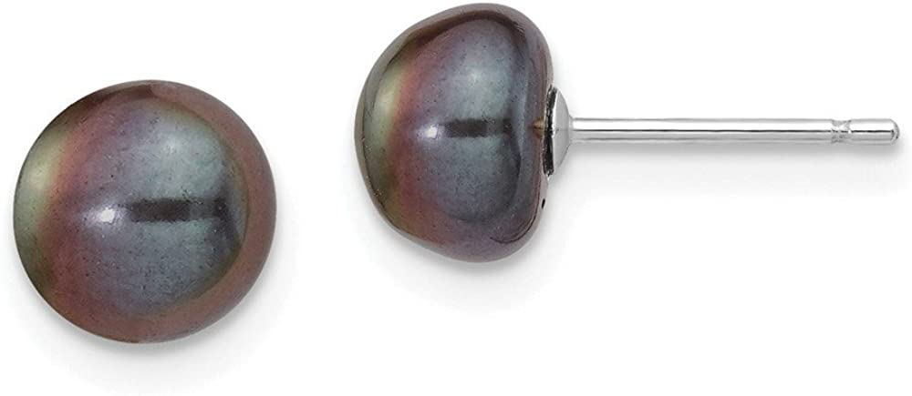 Solid 14k White Gold 7-8mm Black Button FW Cultured Pearl Stud Earrings