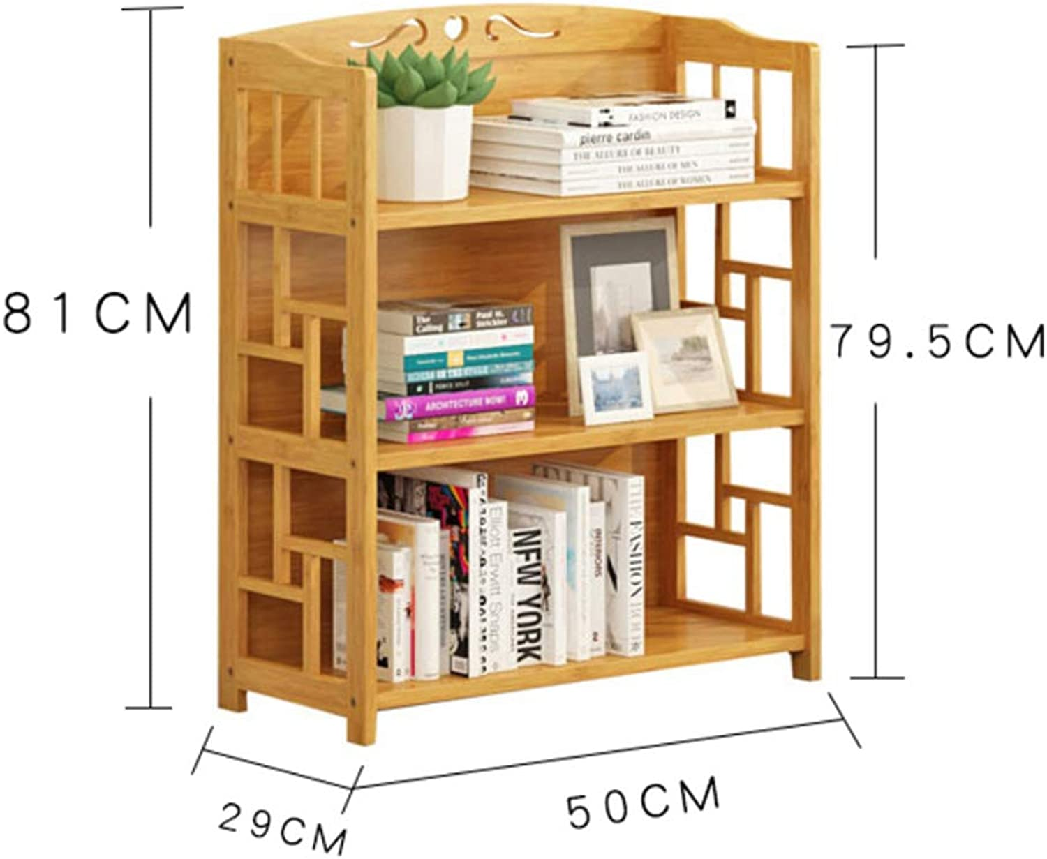 Wooden Bookshelf, Floor Standing Bookcase, Storage Rack Display Shelf Furniture Decoration Easy Assembly for Living Room Office-a 50x29x81cm(20x11x32inch)