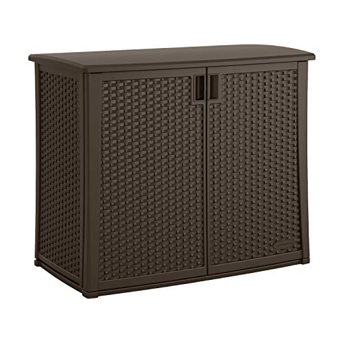 "Suncast Elements Outdoor Wide Cabinet - 40"" Wide Resin Constructed Patio Furniture Ideal for Decks and Balconies - Contemporary Wicker Design for Outdoor Storage with 97 Gallon Capacity - Brown"