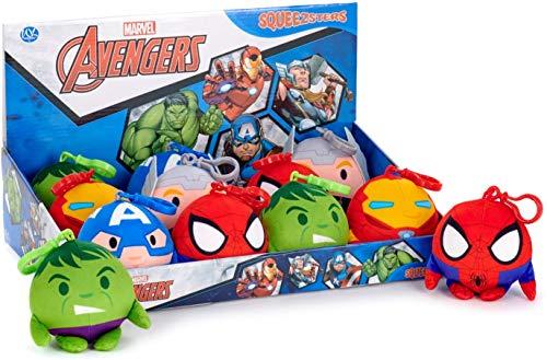 Disney Marvel Squeezer Bag Clip Schlüsselanhänger | Kuscheltier | Plüschtier | Geschenk für Kinder | Mädchen | Jungen | Spielzeug | Schultasche | Hulk | Spiderman | Thor | Captain America | Iron Man