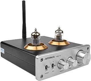 AIYIMA TUBE-T2 Bluetooth5.0ハイファイ6 j 1真空管プリアンプアンプステレオプリアンプ 高音低音コントロールホームサウンドシアター用 (銀)