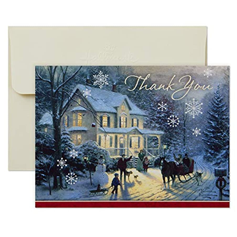 Hallmark Thomas Kinkade Holiday Thank You Cards, Home for the Holidays (10 Cards with Envelopes)