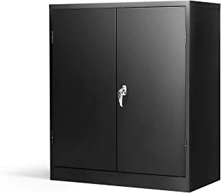 Steel SnapIt Storage Cabinet with 2 Adjustable Shelves Metal Storage Cabinet Office Black