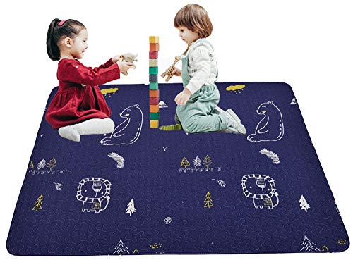 playmats Portable Baby Cotton Play Mat Machine Washing, Foldable Crawling Mat for Floor, 43'' Kids Play Mats Pad Soft Non Slip Non-Toxic Playmats for Infants Tummy Time
