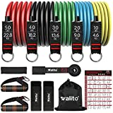 Resistance Bands Set - Walito Exercise Resistance Band with Handle, 5 Tube Fitness Bands with Door Anchor, Elastic Bands for Exercise, Muscle Training, Physical Therapy, Home Workouts