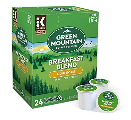 Keurig Coffee Pods K-Cups 16 / 18 / 22 / 24 Count Capsules ALL BRANDS / FLAVORS (24 Pods Green Mountain - Breakfast Blend)