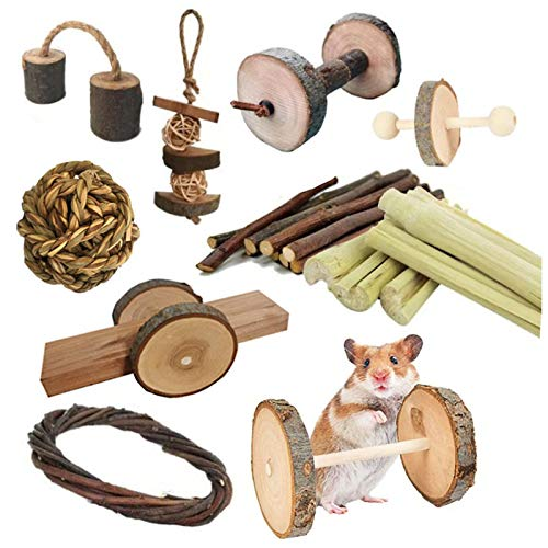 HORYDIA Juguetes para Conejos Juguetes de Masticar para Hamsters Madera Natural Diente Molar Juguetes Adecuado para Hámster Conejos Rata y Cobaya Chinchilla.