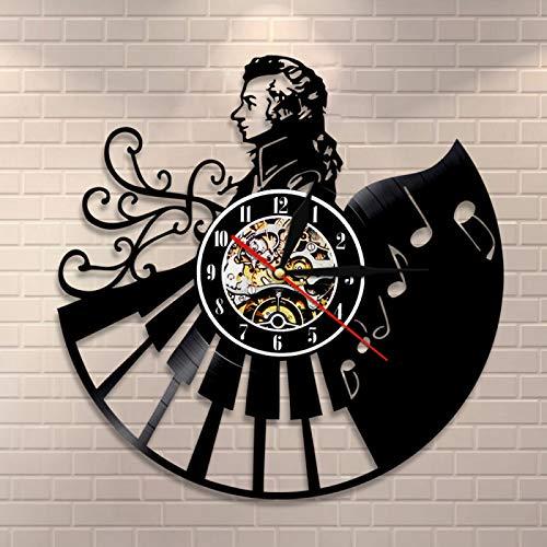 LIMN Reloj de Pared Reloj de Pared con Registro de Vinilo Decoración del hogar Wolfgang Amadeus Mozart Piano Reloj de Pared Retro Músico Musical Profesores de música Regalo de Pianista