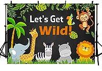 新しい野生のパーティーの背景を取得しましょうジャングルサファリ動物黒板少年野生の1歳の誕生日の写真の背景緑の葉動物園の森夏の写真ブースバナーデザートテーブル用品250x180cm