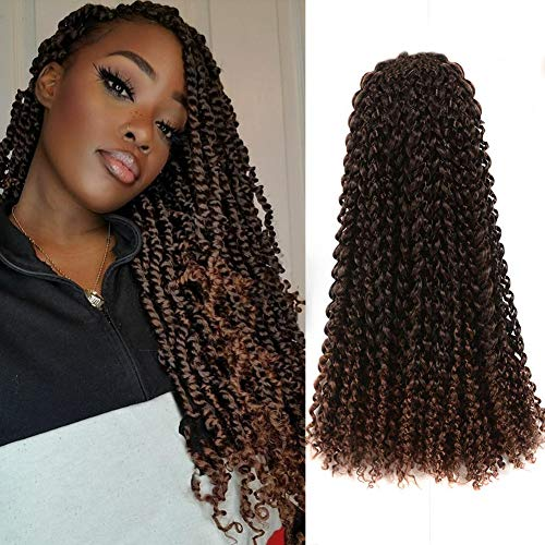 Toyotress Passion Twist Hair - 18 Inch 6packs Ombre Brown Water Wave Crochet Braids Synthetic Braiding Hair Extensions (18 Inch 6Packs, T30)