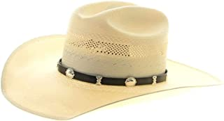 Traditional Sterling Concho Leather Hat Band Navajo Design 0244