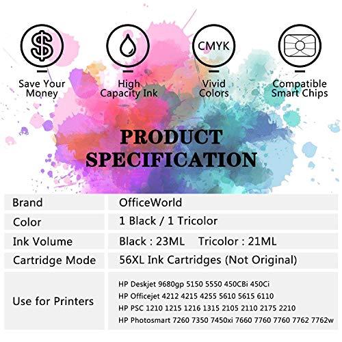 OfficeWorld 56 XL 57 XL Cartuchos de tinta Compatible HP 56 57 56XL 57XL con HP PSC 1210 1215 1315, Deskjet 5150 5550 450Ci, Photosmart 7350 7660 7760, Officejet 5610 4212 4215 (1 Negro,1 Tricolor)