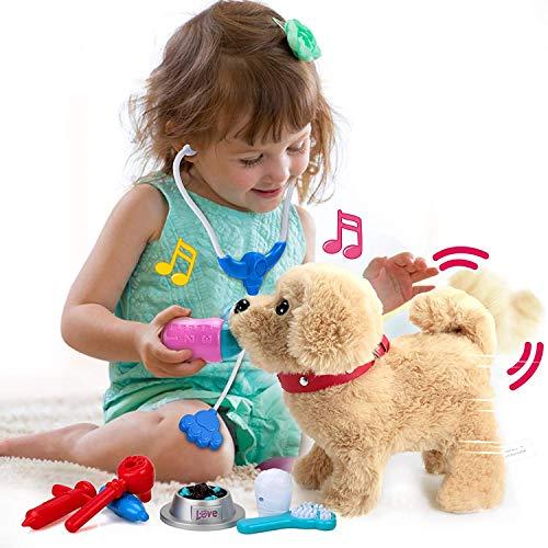 Kinder Mädchen Spielzeug und Plüschtier mit Liedern, Elektronische Haustiere, Interaktives Plüschtier mit Gehen, Bellen, Schwanzwedeln, Singen Funktion, Spielzeuggeschenke für 2 3 4 5 Jahre Mädchen