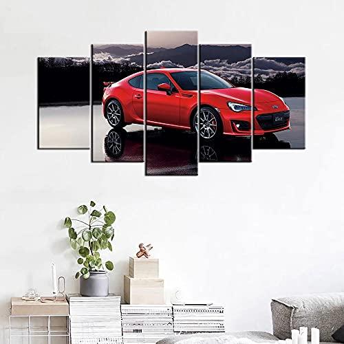 ZHRMGHG 5 Dipinti su Tela Quadro su Tela Stampe di Quadri Decorazioni per La Casa Immagini Modulari 5 Pezzi Auto d'Epoca Rossa Poster Soggiorno Arte della Parete
