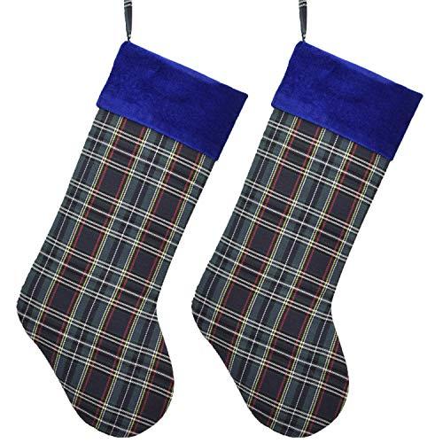 Gireshome Set of 2PCS Blue Plaid Velvet Cuff Christmas Stocking Xmas Tree Decor Festival Party Ornament 10'x18'