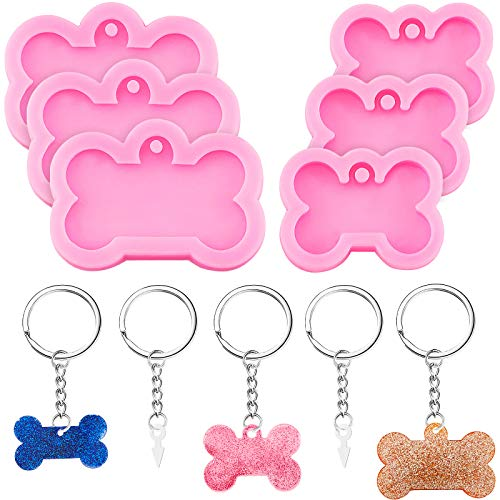 16 Pieces Dog Bone Shaped Silicone Mold Silicone Dog Bone Keychain Pendant Clay Mold and Key Rings for Kitchen or Homemade Crafts DIY, 2 Sizes