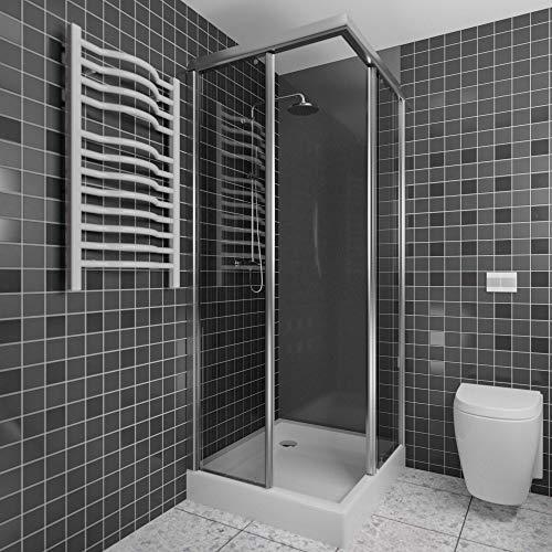 A+H Wandverkleidung - Kunststoffplatte als Duschrückwand für Dusche/Badewanne - Duschplatte/Duschwand (200x100cm, dunkelgrau)