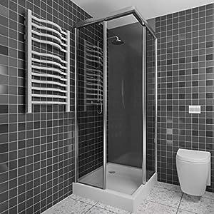 Revestimoeinto pared ducha   200 x 100 cm   gris oscuro   Panel de pared para ducha